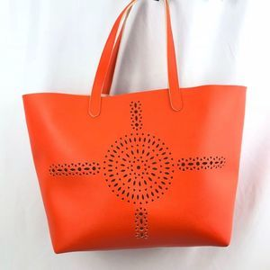 Tote Bag with Laser Cut Outs in Bright Orange